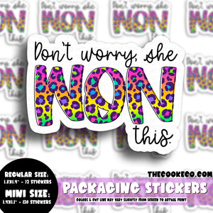 Packaging Stickers | #C0539 - DON'T WORRY SHE WON THIS RAINBOW LEOPARD