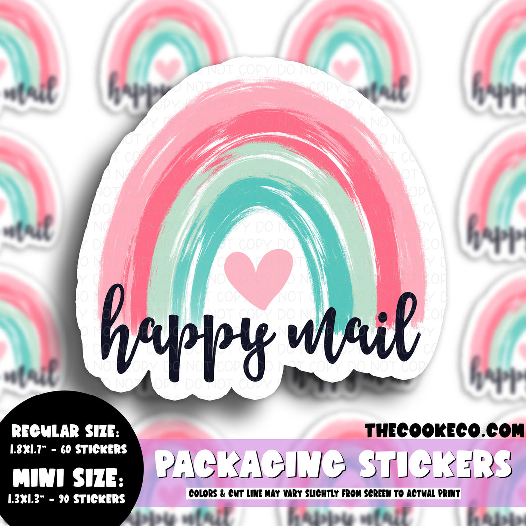 Packaging Stickers | #C0549 - HAPPY MAIL PASTEL RAINBOW