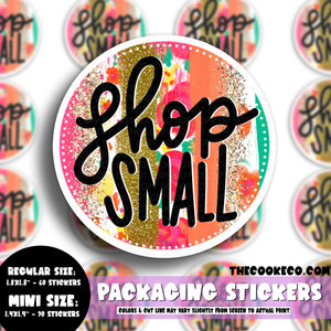 Packaging Stickers | #C0567 - SHOP SMALL SPRING BRUSHSTROKE