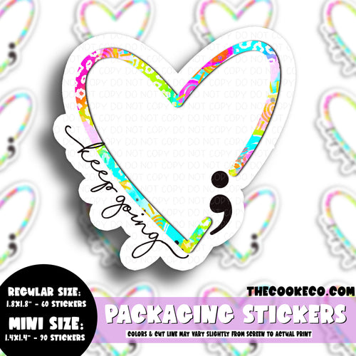 PTO Packaging Stickers | #C0652 - KEEP GOING HEART