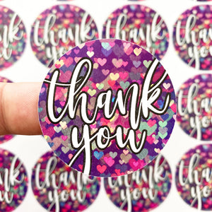 Packaging Stickers | #C0109 - THANK YOU HEART BOKEH