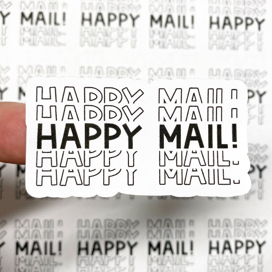 Packaging Stickers | #BW0069 - HAPPY MAIL STACKED