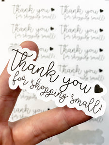 Packaging Stickers | #BW0019 - Thank You For Shopping Small