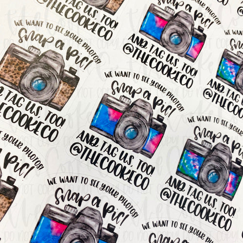 Customizable Packaging Stickers | #0032 - WE WANT TO SEE YOUR PHOTOS