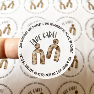 Packaging Stickers | #C0446 - TAKE CARE - CLAY EARRING CARE INSTRUCTIONS - LEOPARD