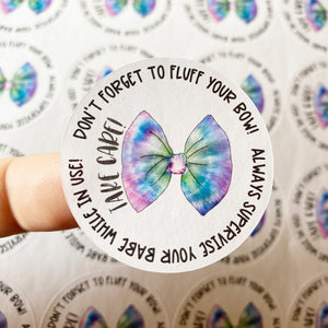 Packaging Stickers | #C0447 - TAKE CARE - BOW CARE INSTRUCTIONS - TIE DYE