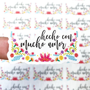 "Packaging Stickers | #SP0019 - HECHO CON MUCHO AMOR - ""MADE WITH LOTS OF LOVE"""