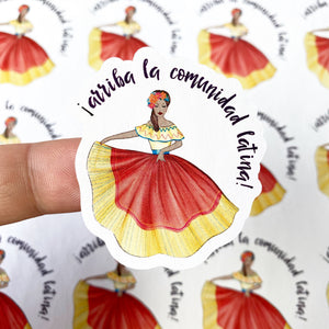 "Packaging Stickers | #SP0013 - ARRIBA LA COMUNIDAD LATINA! - ""UP THE LATIN COMMUNITY!"