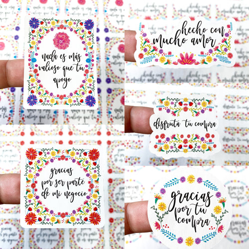 Packaging Stickers | #SP0021 - FLORAL ESPAÑOL VARIETY PACK