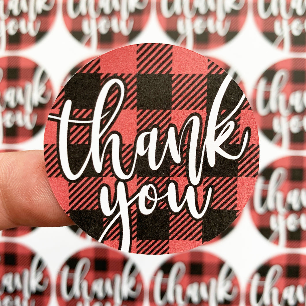 Packaging Stickers | #C0056 - THANK YOU - BUFFALO PLAID