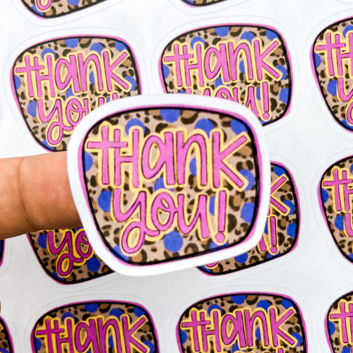 PTO Packaging Stickers | #C0635 - THANK YOU LEOPARD