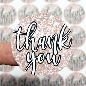 Packaging Stickers | #C0067 - GLITTER THANK YOU - PRINTED GLITTER TEXTURE