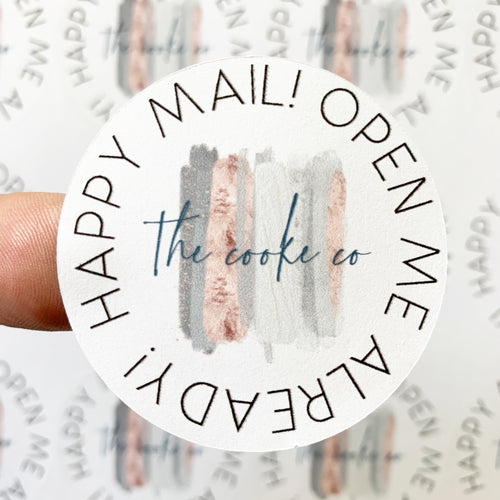 Custom Packaging Stickers | Customizable: #0020- Happy Mail