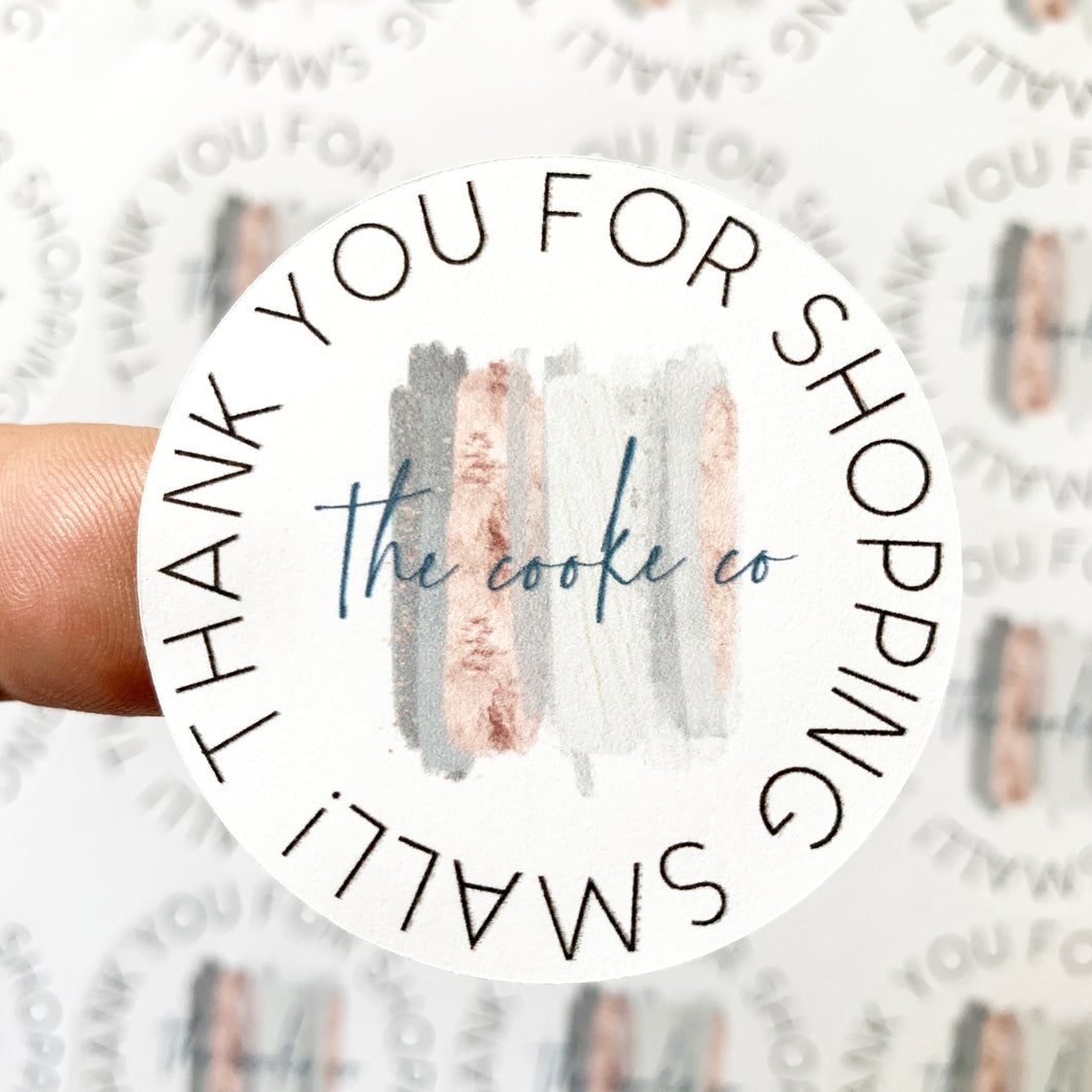 Custom Packaging Stickers | Customizable: #0017 - Thank You For Shopping Small