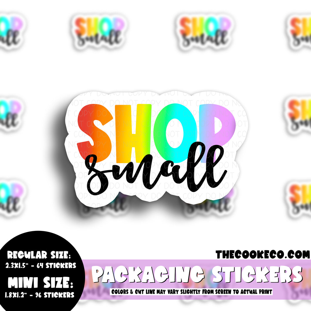 Packaging Stickers | #C0580 - SHOP SMALL RAINBOW LETTERING