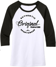 "Load image into Gallery viewer, Women's ""Original Child Of God"" 3/4 Sleeve Raglan Top (Limited Edition Colors)"