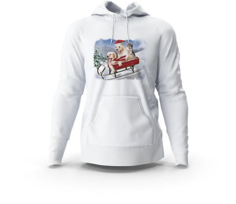 Dogs & Cat Sledding White Hoodie