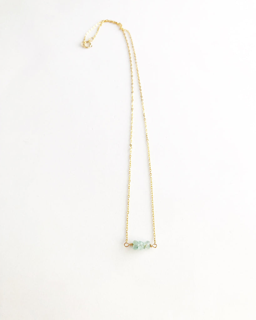 Aquamarine Past , present , future necklace