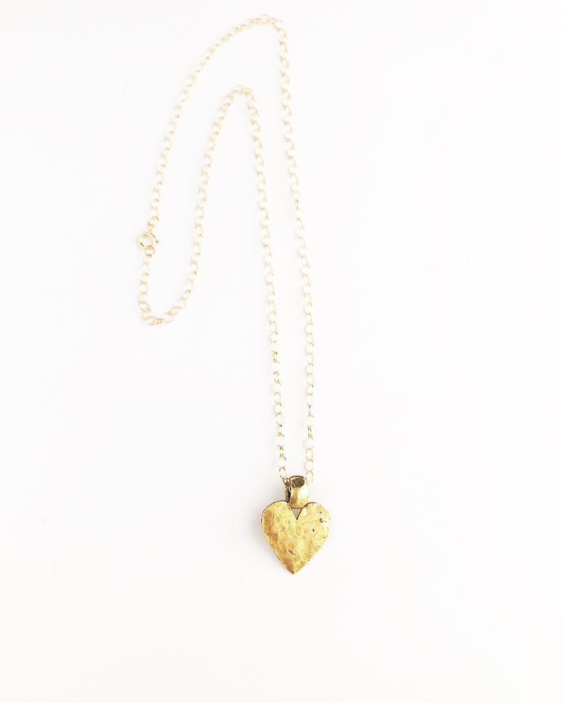 Chunky Pewter Heart - Gold