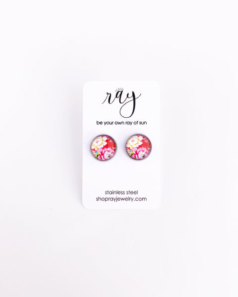 Studs - Pink Floral