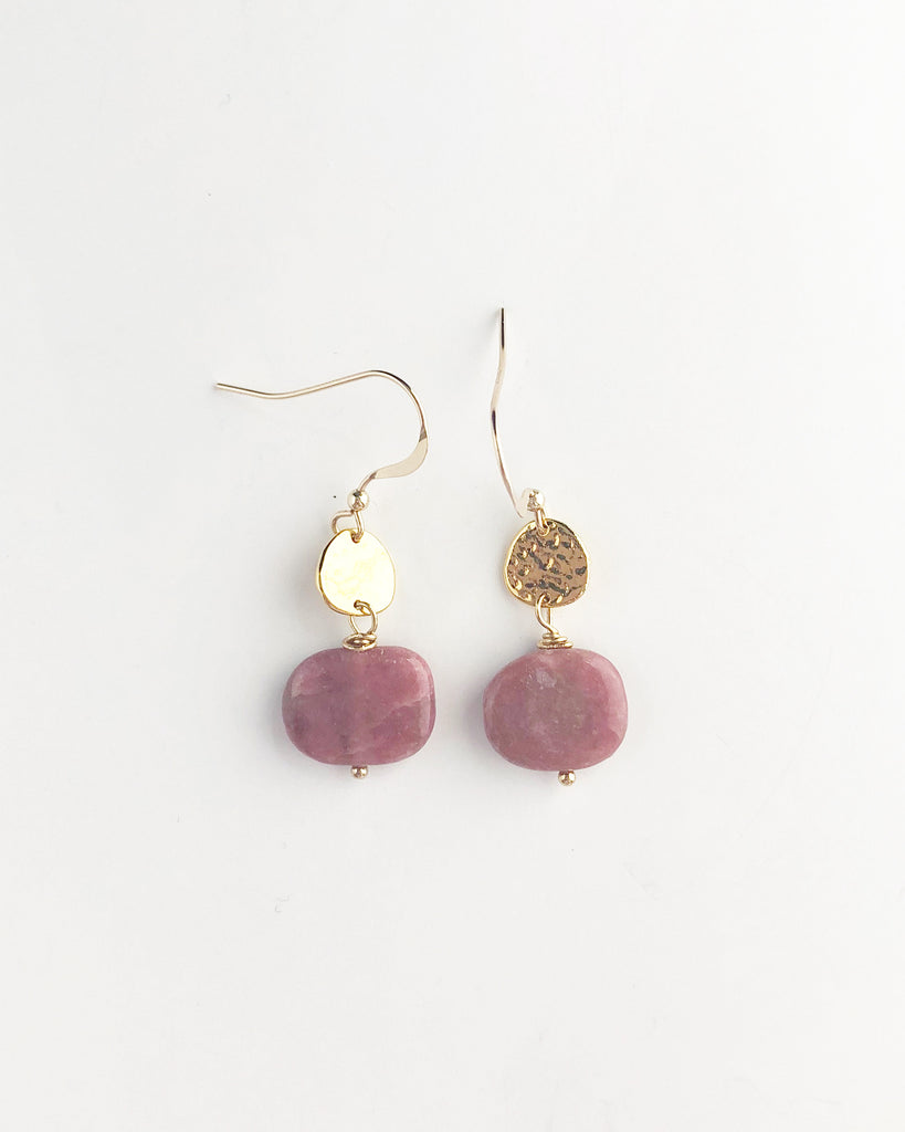 Rhodonite + hammered disc earrings