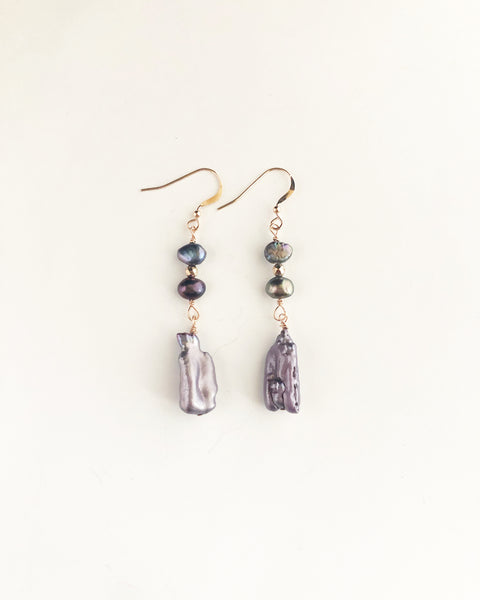 Rose gold + iridescent purple pearl earrings