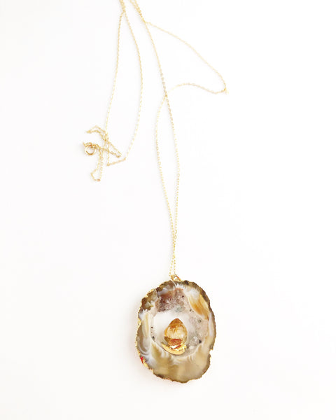 Citrine Geode Agate Necklace - long