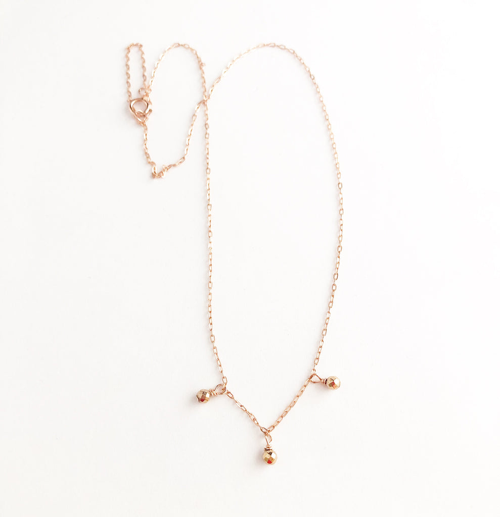 Rose gold + bronze 3 beaded choker
