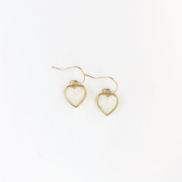 Milky white mini heart earrings