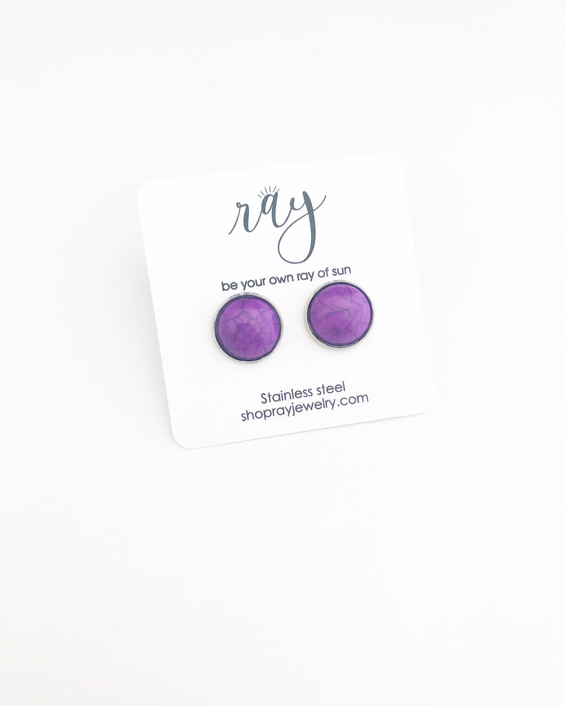 Studs - Purple howlite