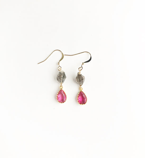 Herkimer Diamond + pink glass earrings