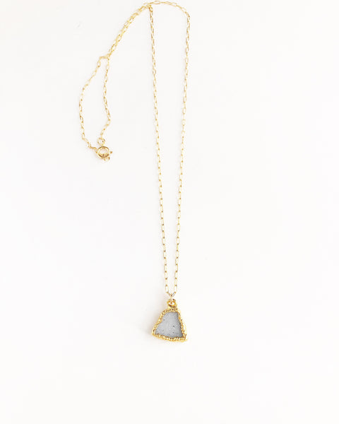 Raw Druzy Triangle Necklace