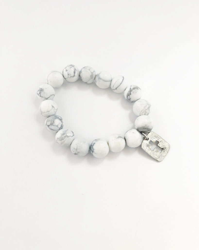 White Howlite Bracelet + Silver Cut out Cross Charm