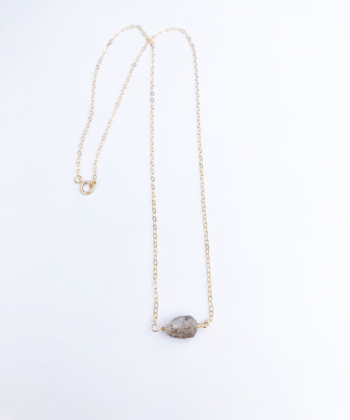 14k gold filled Raw Herkimer Diamond Necklace