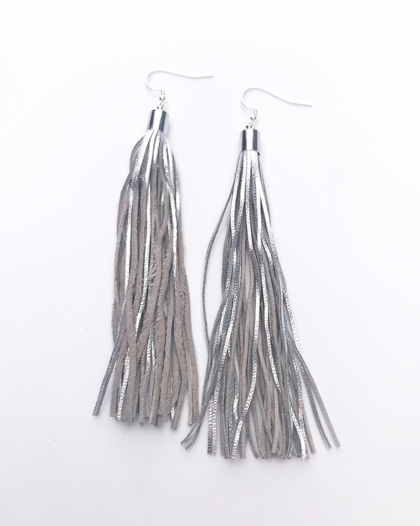 Metallic Silver Grey Leather Tassel Earrings