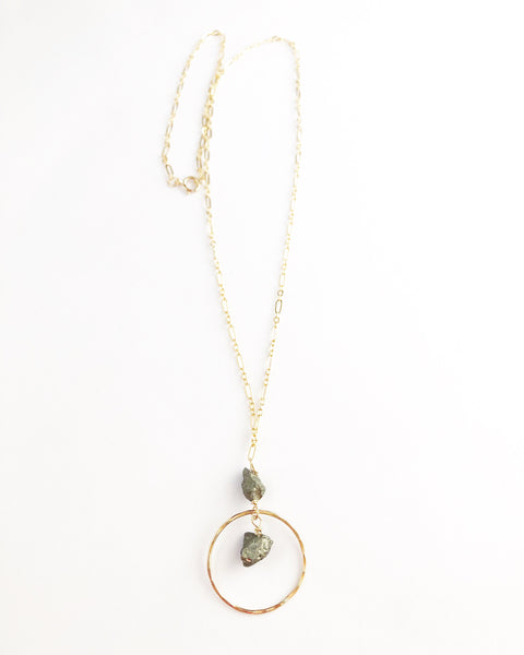 Pyrite + hammered hoop accent necklace