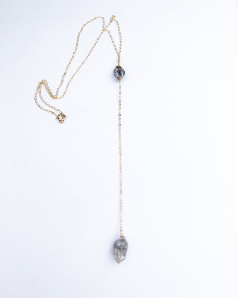 Raw Herkimer Diamond Lariat Necklace