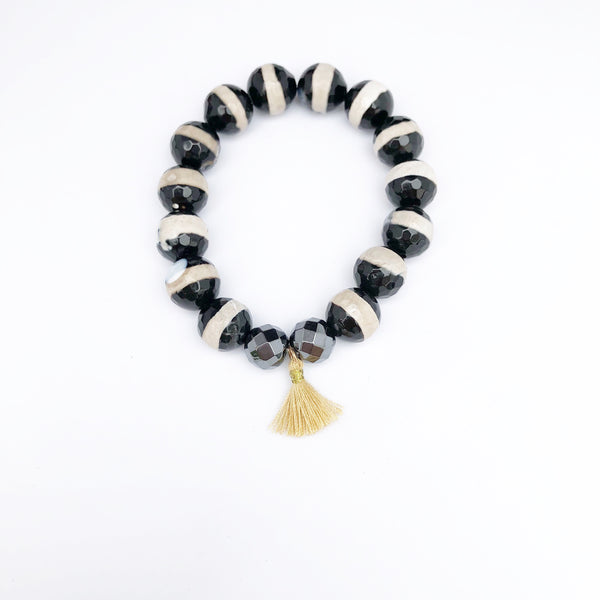 Black + white Dzi with tassel bracelet