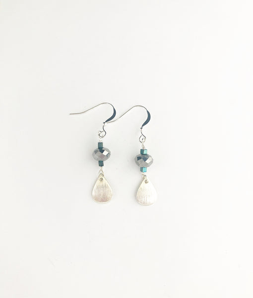 Sterling silver teal green & grey hematite teardrops