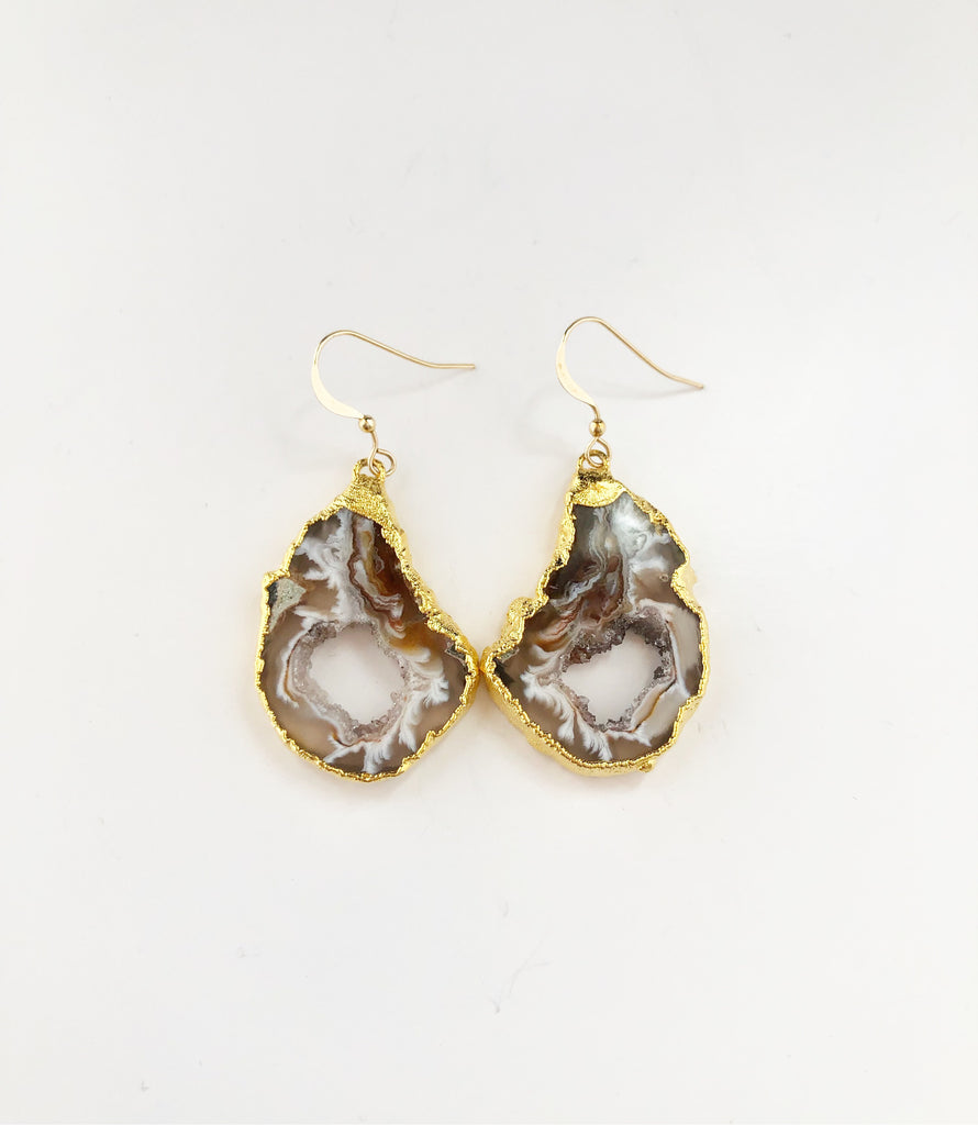 Raw Neutral colored Geode Earrings