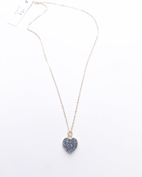 Petite Black Druzy Heart Necklace