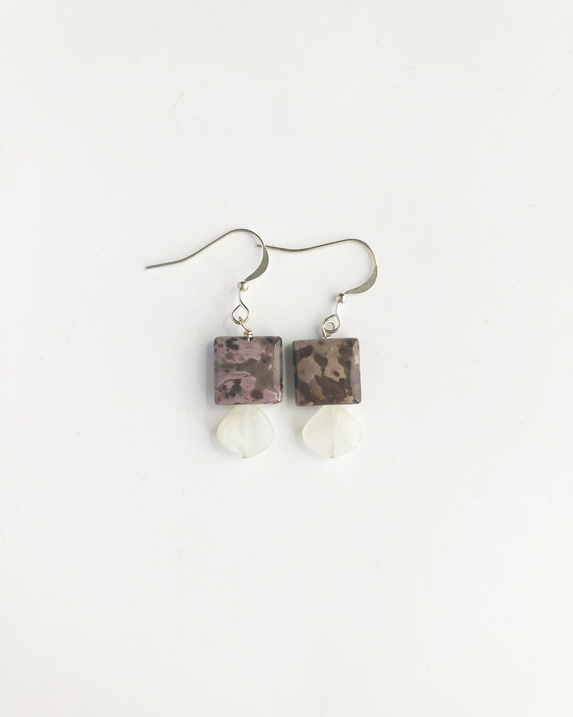 Sterling silver Jasper + moonstone earrings