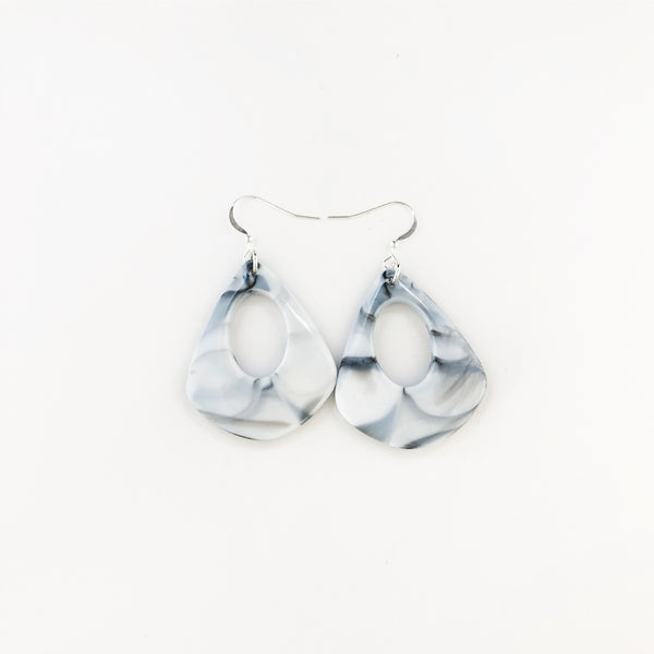 Sterling Silver Grey Marbled Triangle Hoops