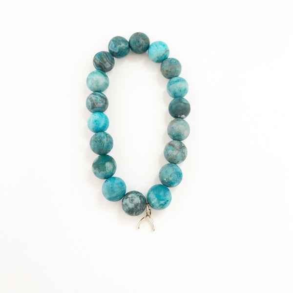 Blue Mexican lace agate bracelet with wishbone charm
