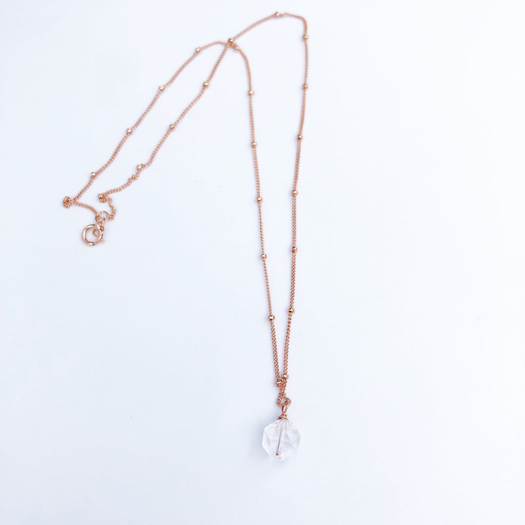 Rose Gold + Raw Crystal necklace
