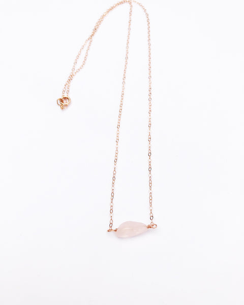 Rose gold Raw Rose Quartz necklace