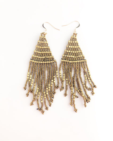 Beaded gold bronze Tassel fringe earrings
