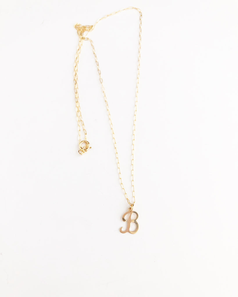 Initial script necklace  - 14k gold filled