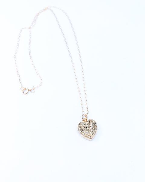 Petite Gold druzy heart necklace