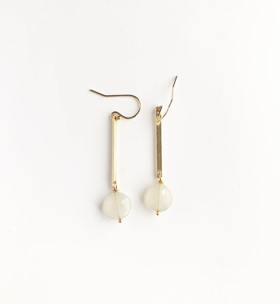 Cream/Grey Moonstone + gold bar earrings